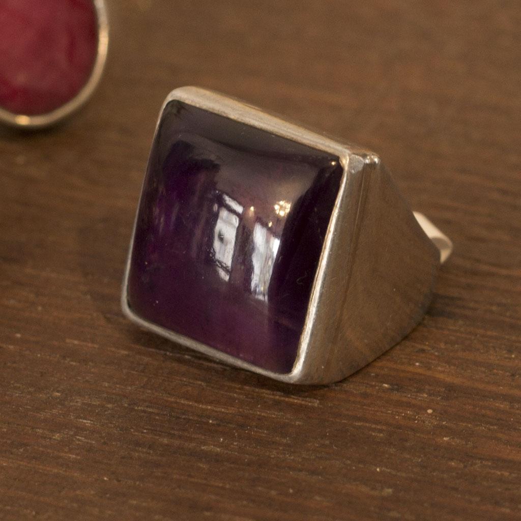 Ring Old Delhi mit Amethyst, 925er Silber, handgefertigt, unisex