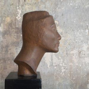 Art Deko Metallkopf auf Keramiksockel ca. 1920